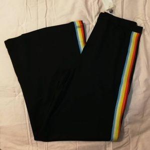 Medium rainbow stripe flare pants